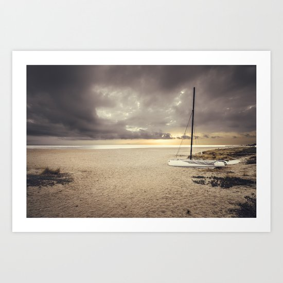 Dramatic sunrise on the beach Art Print
