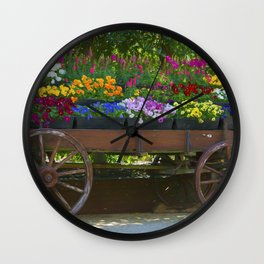 Spring Flowers in Cart Wall Clock