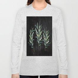 Eucalyptus Branches On Chalkboard Long Sleeve T-shirt