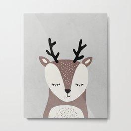 Deer - Mid century modern kids art - Children's art - Kids decor - Nursery room Metal Print