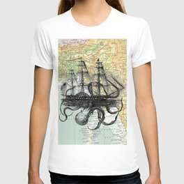 Octopus Attacks Ship on map background T-shirt
