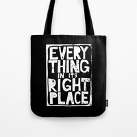 radiohead Tote Bags featuring Everything in Its Right Place - Radiohead by Bastien13
