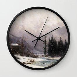 Gabriel Loppé - Winter in the Meiringen Valley 1866 Wall Clock