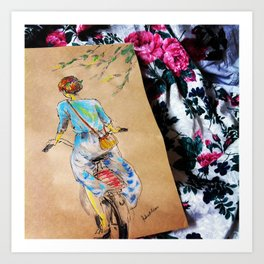 Riding Into the Flowers Art Print