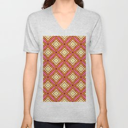 Kitschy Mid Century Pattern in Pink and Yellow Unisex V-Neck