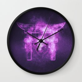 Shinto symbol. Japan Gate. Torii gate. Abstract night sky background. Wall Clock