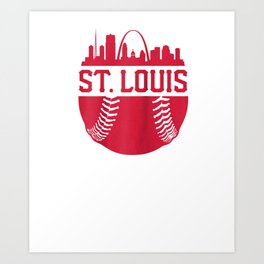 Vintage St. Louis Baseball Skyline Cardinal Retro Gift Raglan Baseball Tee Art Print