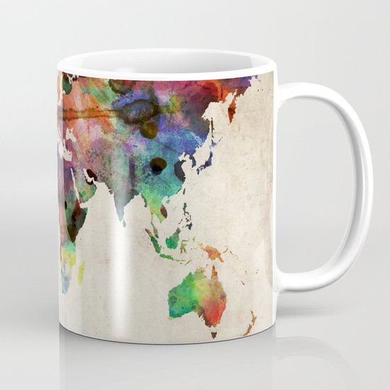 World Map Urban Watercolor Mug