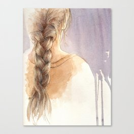 Girl with Braid in Watercolor Canvas Print