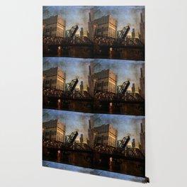 Chicago Skyline Chicago River Drawbridge Wallpaper