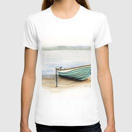 Rowboat, beach, marine, seashore boat T-shirt