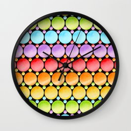 Rainbow Dotty Stripes Wall Clock