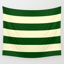 Dark Emerald Green and Cream Large Stripes Wall Tapestry