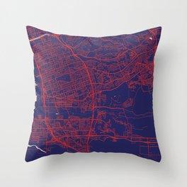 Chula Vista, CA, USA, Blue, White, City, Map Throw Pillow