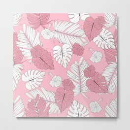 Pretty And Pink In The Tropical Jungle Metal Print