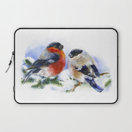 Bullfinches in winter time. Christmas Watercolor Art Laptop Sleeve
