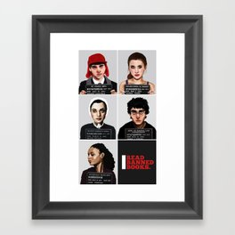 Banned Books Mugshots (Black) Framed Art Print