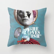 she loves the fishes Throw Pillow