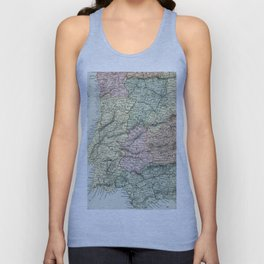 Spain and Portugal Vintage Map Unisex Tank Top