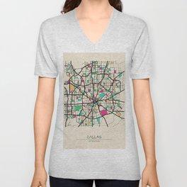 Colorful City Maps: Dallas, Texas Unisex V-Neck