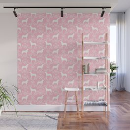 Husky floral dog pattern simple minimal basic dog silhouette huskies dog breed pink and white Wall Mural