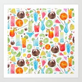 Summer Fruit Cocktail Art Print