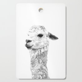 Black and white llama animal portrait Cutting Board