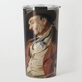 Old Man Drinking Beer Painting Travel Mug