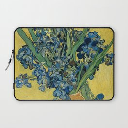 Still Life: Vase with Irises Against a Yellow Background Laptop Sleeve