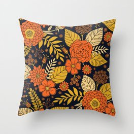 Retro Orange, Yellow, Brown, & Navy Floral Pattern Throw Pillow