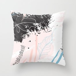 Exotic leaves on grunge background Throw Pillow