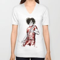 jack white V-neck T-shirts featuring Jack White Red Watercolor by Tom Brodie-Browne