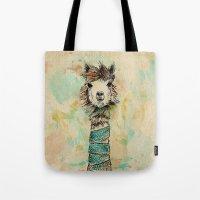 lama Tote Bags featuring Lama by Anastasia Tayurskaya