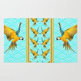GOLD & BLUE TROPICAL MACAWS VERTICAL ART Rug