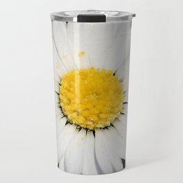 Top View of a White Daisy Isolated on Black Travel Mug