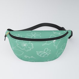 White flower and wings outline on teal Fanny Pack