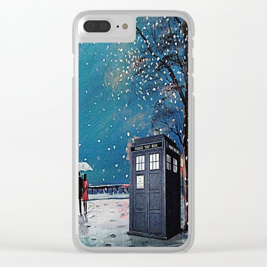 Tardis of starry night Clear iPhone Case