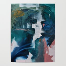 Exhilarated: a vibrant, abstract, mixed-media piece in greens and pinks by Alyssa Hamilton Art  Poster