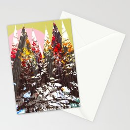 """""""Trees, Mountains, Flowers, Sun Vector Illustration"""" Stationery Cards"""