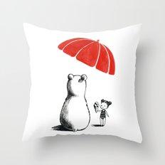 Polar bear at the beach Throw Pillow