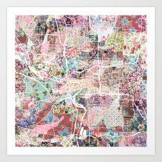 columbus map flowers Art Print