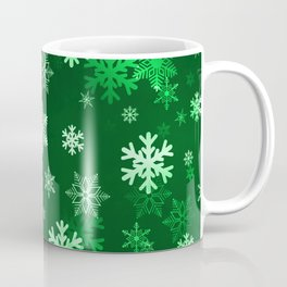 Dark Green Snowflakes Coffee Mug
