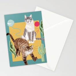 Whiskers and Yarn cadet blue Stationery Cards