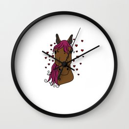 lucky horse mom Riding Horses Mother Present Gift Wall Clock