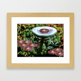 Surrealist Late Night Mushroom Party Framed Art Print