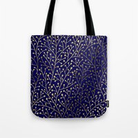 navy Tote Bags featuring Gold Berry Branches on Navy by Cat Coquillette