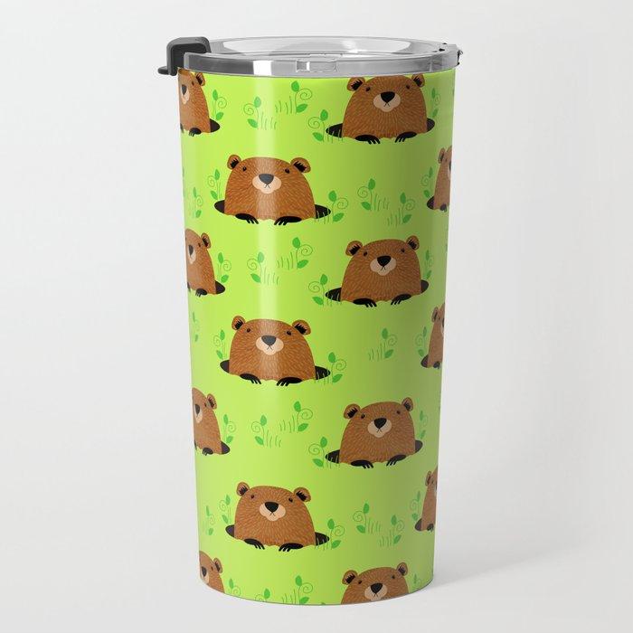 Adorable Groundhog Pattern Travel Mug