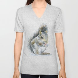 Gray Squirrel Watercolor Painting Unisex V-Neck