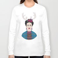 frida Long Sleeve T-shirts featuring DEER FRIDA by Bianca Green