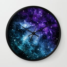 Purple Teal Galaxy Nebula Dream #1 #decor #art #society6 Wall Clock